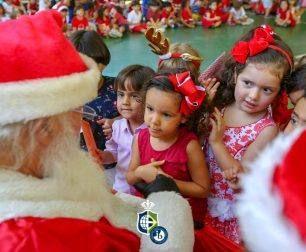 Kindergaten receives a visit from Santa Claus